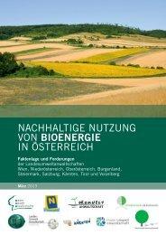 NACHHALTIGE NUTZUNG VON BioeNergie IN ÖSTERREICH
