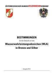 Bestimmungen WLA Bronze/Silber/Einer