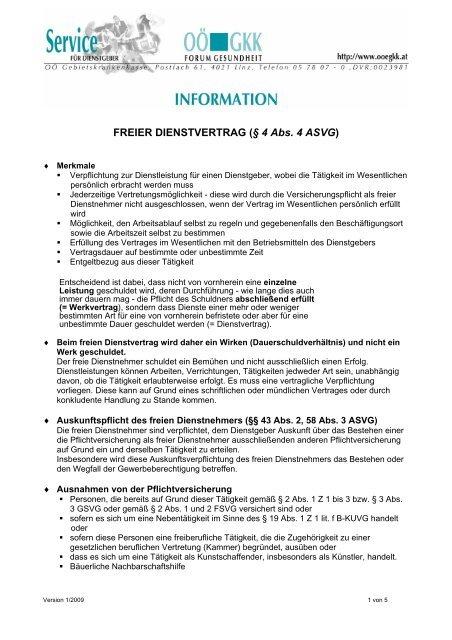 Freier Dienstvertrag â 4 Abs 4 Asvg