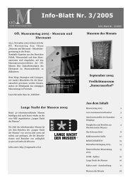 Info-Blatt Nr. 3/2005 - Oberösterreichischer Museumsverbund