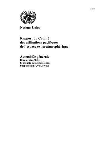 Nations Unies Rapport du Comité des utilisations pacifiques de l ...
