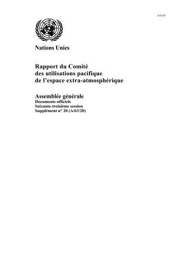 Nations Unies Rapport du Comité des utilisations pacifique de l ...