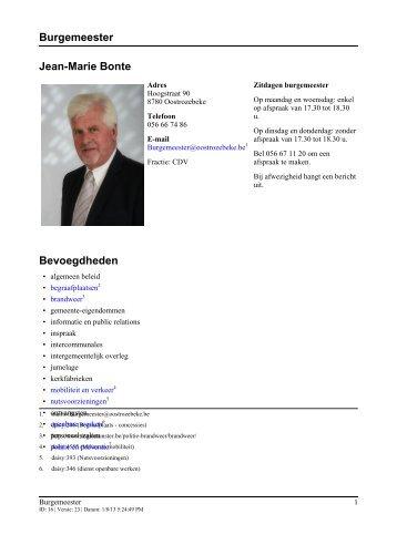 Burgemeester Jean-Marie Bonte Bevoegdheden - Oostrozebeke