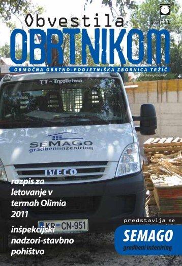 Obvestila januar 2011 - Območna obrtno-podjetniška zbornica Tržič