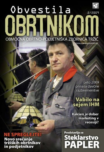 Obvestila februar 2009 - Območna obrtno-podjetniška zbornica Tržič