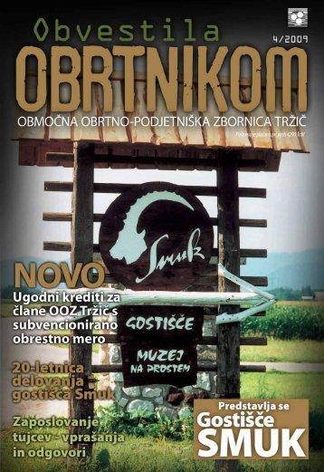 Obvestila april 2009 - Območna obrtno-podjetniška zbornica Tržič