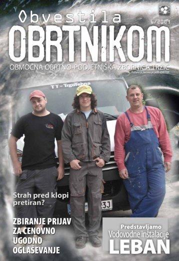 Obvestila junij 2009 - Območna obrtno-podjetniška zbornica Tržič