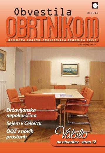 Obvestila marec 2011 - Območna obrtno-podjetniška zbornica Tržič