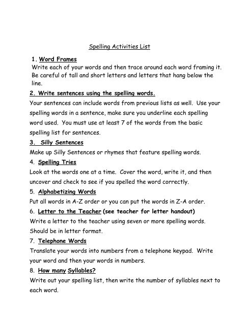 photo about Scattergories Lists 1 12 Printable identify Spelling Actions Checklist 1. Term Frames Compose every single of your