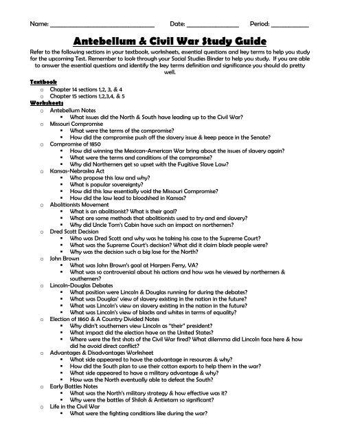 Antebellum Civil War Study Guide