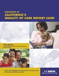california's quality of care report card - Office of the Patient Advocate ...