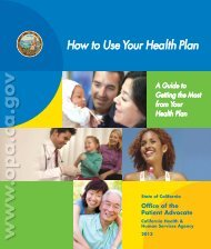 How to Use Your Health Plan - Office of the Patient Advocate - State ...