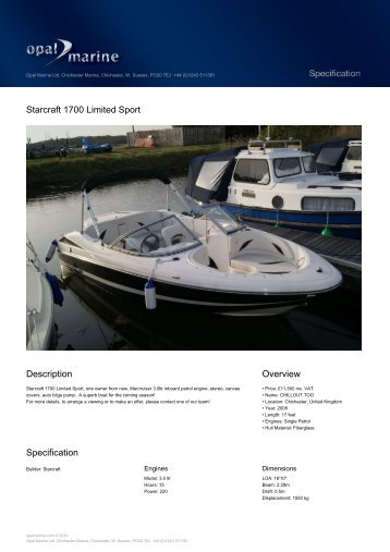 Starcraft 1700 Limited Sport - Opal Marine