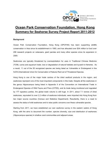 Summary of OPCFHK Seahorse Survey Project Report (2011-2012)