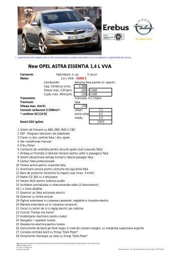 New OPEL ASTRA ESSENTIA 1,4 L VVA - Opel Erebus