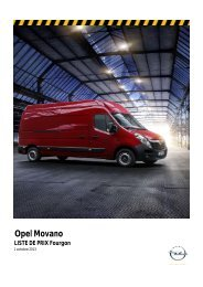 Opel Movano LISTE DE PRIX Variantes pour conversion