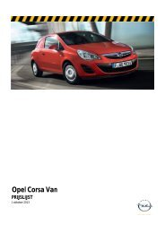Prijslijst - Opel