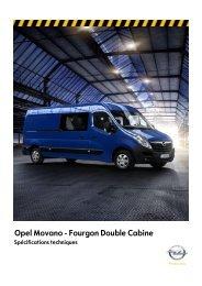Spécification techniques Van DC - Opel