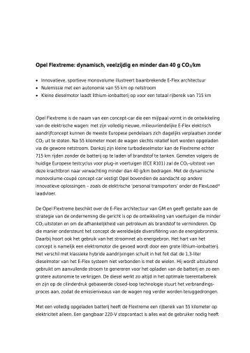 Opel Flextreme: dynamisch, veelzijdig en minder dan 40 g CO2/km