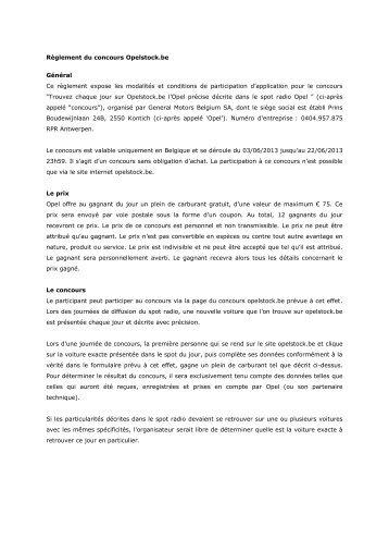 Règlement du concours - Opel