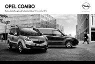 Opel Combo Preisliste