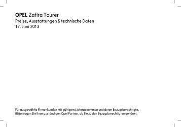 Preisliste Zafira Tourer für Firmenkunden - Opel