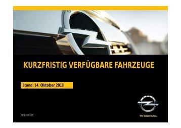 KURZFRISTIG VERFÜGBARE FAHRZEUGE - Opel