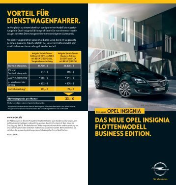 Insignia Business Edition Flyer - Opel