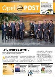 Wir wünschen viel Spaß beim Lesen der Opel Post