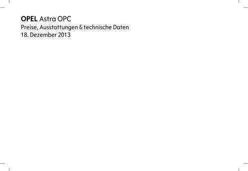 Opel Astra OPC Preisliste