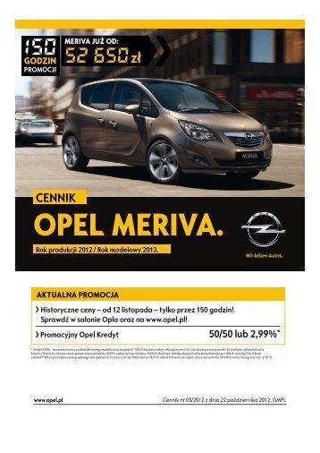 Opel Meriva cennik 2012 - Rok modelowy 2013 - Opel Polska