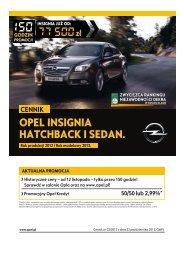 Opel Insignia Hatchback Sedan cennik 2012 - Rok ... - Opel Polska