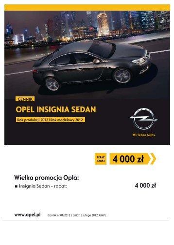 Opel Insignia sedan cennik 2012 - Opel Polska