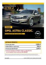 Opel Astra Classic cennik 2012 - Rok modelowy 2012 - Opel Polska