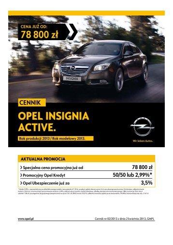 Opel Insignia Hatchback Sedan cennik 2013 - Rok modelowy 2013