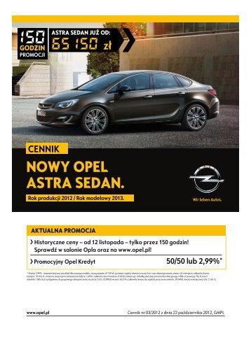 Opel Astra sedan cennik 2012 - Rok modelowy 2013 - Opel Polska