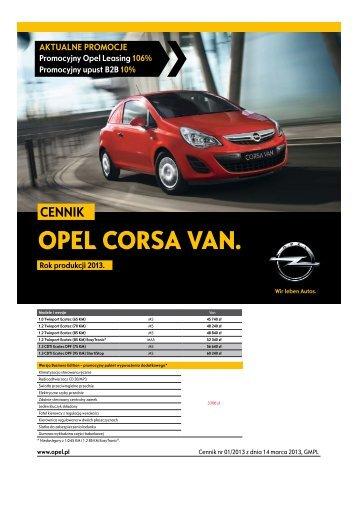 Cennik Corsy Van - Opel Polska