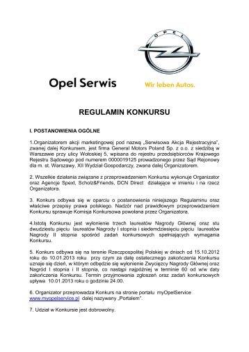 Opel Serwis | Regulamin konkursu MyOpelService | Opel Polska