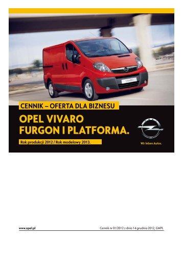 Opel Vivaro Furgon cennik 2012 - Rok modelowy 2013 - Opel Polska