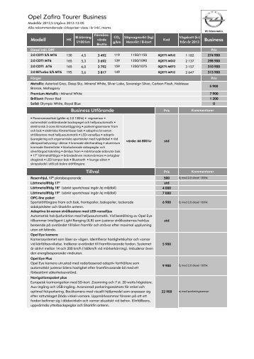 Prislista Zafira Tourer Business - Opel