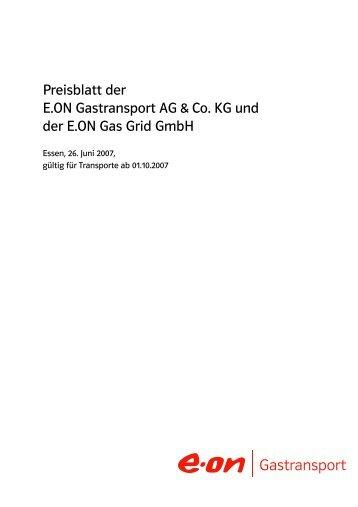 Preisblatt der E.ON Gastransport und der E.ON Gas Grid GmbH