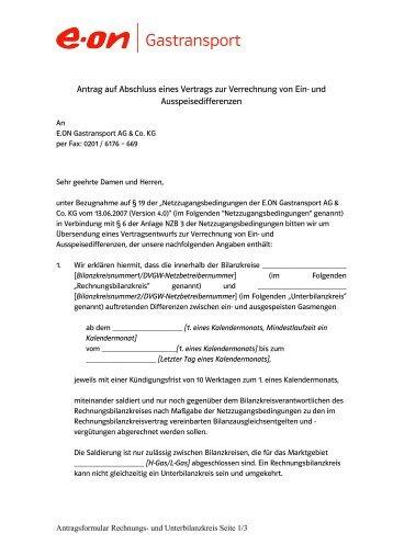 Antrag auf Abschluss eines Vertrags zur Verrechnung von Ein- und ...