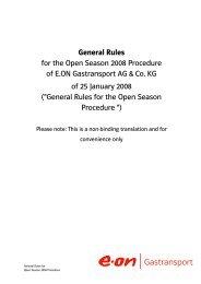 General Procedural Rules for E.ON Gastransport Open Season 2008