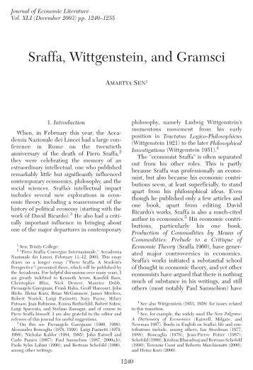 Sraffa, Wittgenstein, and Gramsci