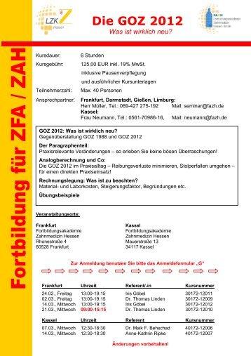 Die GOZ 2012 Was ist wirklich neu? - FAZH