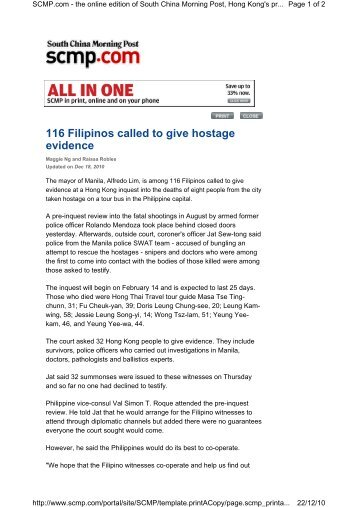 116 Filipinos called to give hostage evidence - OpenDrive