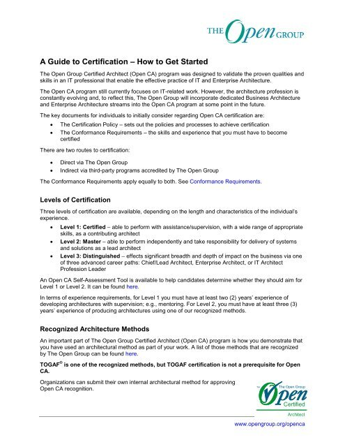 A Guide To Certification A How To Get Started The Open Group