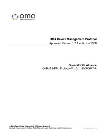 OMA Device Management Protocol - Open Mobile Alliance