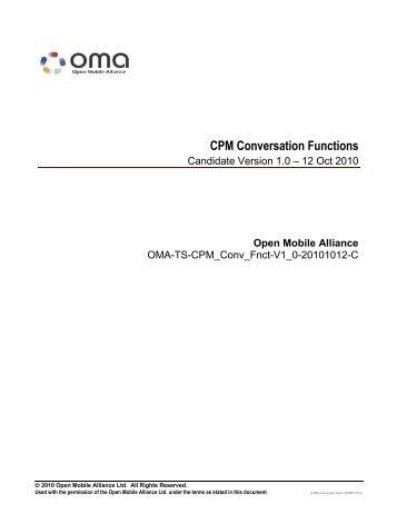 CPM Conversation Functions - Open Mobile Alliance