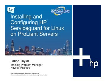 Installing and Configuring HP Serviceguard for Linux on ... - OpenMPE